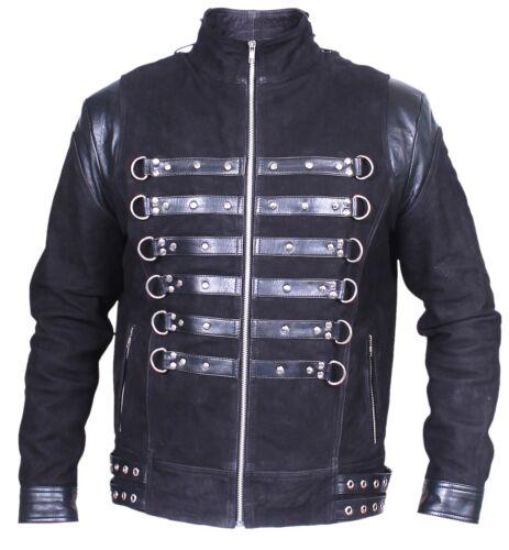 Black GOTH NUBUCK /& TOP GRAIN LEATHER COAT Mans Rock Steampunk Punk Jacket