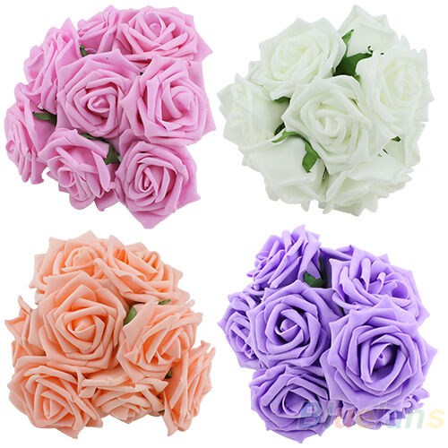 10X Beautiful Lots Rose Flowers Head Party Wedding Bridal Bouquet Decoration BGA