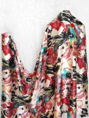 100/% Silk Charmeuse Stretch Fabric Bold Art S003 Per Yard
