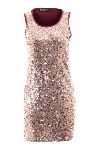 Ladies Round Sequin Shiny Wine Black Beige Plain Back Short Women/'s Party Dress