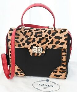 9203bd057ccc Image is loading PRADA-Cavallino-Leopard -Calfskin-with-Ostrich-Leather-Nylon-