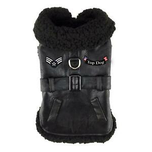 Doggie-Design-Black-Top-Dog-Flight-Dog-Winter-Poly-Coat-with-Leash-Sizes-XS-2XL