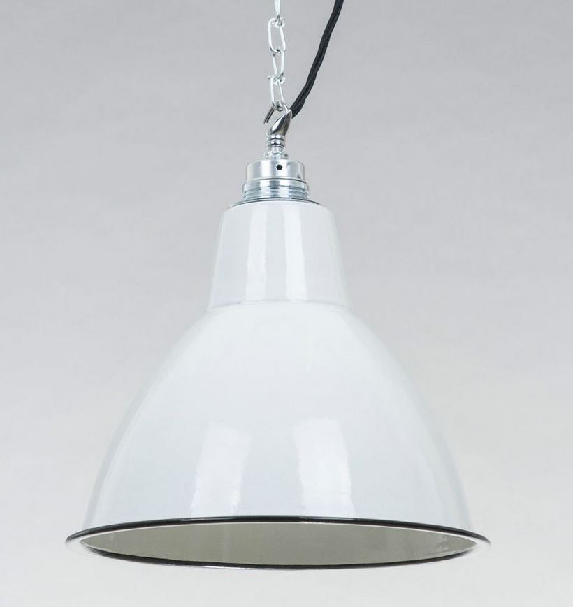 Fabriklampe 25cm weiß rund Emaille Lampe Enamel Industrial Lighting