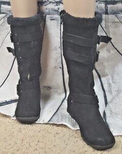 Women s Shoe Dept. Suede   Buckle Black Boots (Size  7M)  6a96927b1