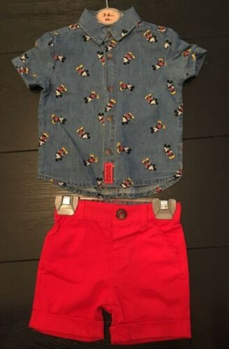 DISNEY MICKEY MOUSE Denim Shirt /& Red Shorts Set Baby Primark Licensed 0-24 Mths