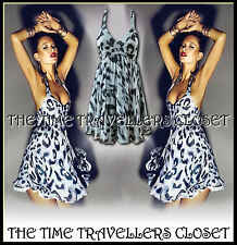 TOPSHOP Kate Moss Grey Halterneck Leopard Animal Chiffon 50s Retro Dress UK 12