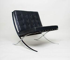 Image is loading Original-Knoll-Mies-Van-Der-Rohe-Barcelona-Chair- & Original Knoll Mies Van Der Rohe Barcelona Chair Black Leather Mid ...