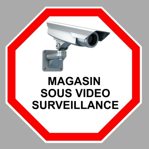 MAGASIN SOUS VIDEO SURVEILLANCE CAMERA PROTECTION AUTOCOLLANT STICKER VA109