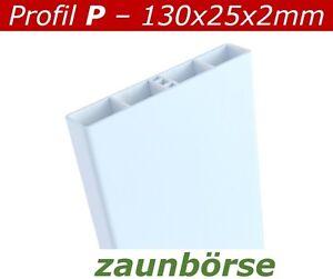 Zaunbretter-P-130x25x2mm-weiss-L-74cm-Profiware-Kunststoffzaun-Balkon-Gelaender