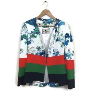 6de41779d537a9 ETRO Jacket 46 Blue Floral Black Red Green Stripe Color Block Blazer ...