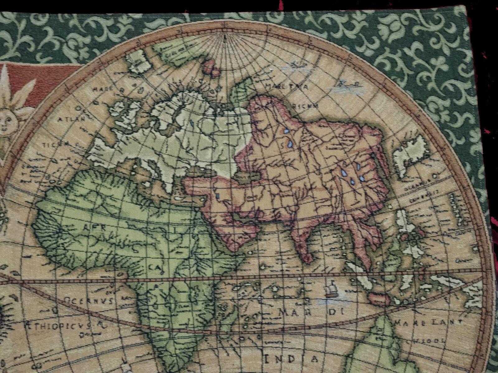 Wandteppich Gobelin  OLD MAP WELTKARTE ANTIK DESIGN GRÜN TAPESTERY 116 x 68