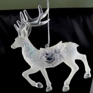 Vintage-Clear-Plastic-Prancing-Reindeer-Ornament-Glitter-Christmas-Holiday-Tree
