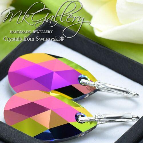 Vitrail Medio * Enorme 925 pendientes de Plata Cristales de Swarovski ® 28mm Pera