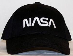 Image is loading Nasa-Worm-Logo-Embroidered-Black-Baseball-Cap 9e1a12dad318