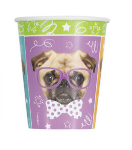 Details about PUG PUPPY BIRTHDAY 9oz PAPER CUPS (8) ~ Party Supplies  Beverage Drinking Dogs