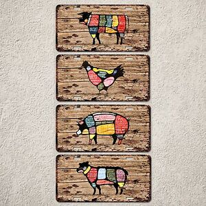 LP0140-Meat-Chart-Set-Beef-Fork-Lamb-Chicken-Sign-Auto-License-Plate-Rust-Decor