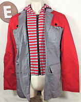 Wd.ny Men's Black Slim Fit Zip Striped Jacket Shirt Size Medium Red/gray Hood