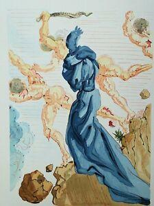 Dali Salvador: Hölle 15 - Holz Graviert Original, 1960 # Göttliche Komödie