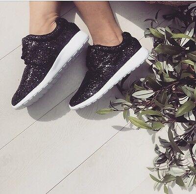 Negro zapatos de entrenamiento tenis Entrenadores brillo bombas de gimnasio para mujeres y chicas