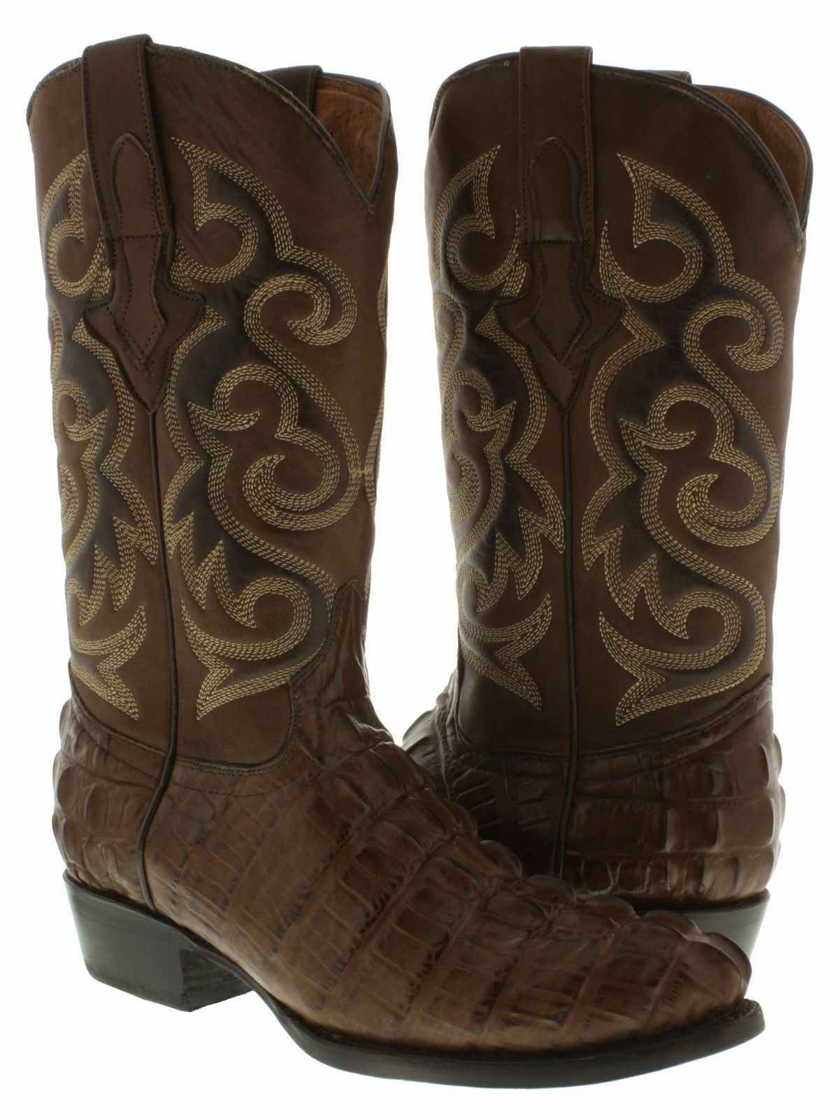 Mens Crocodile Alligator Tail Western Cowboy Leather R Toe Brown Boots