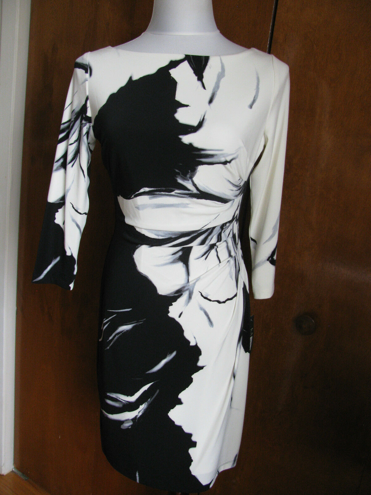 Lauren Ralph Womens multi color figure flattering draped pleats dress 6P 12P 14P
