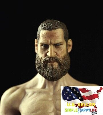 "1//6 man head sculpt soldier D beard for 12/"" figure hot toy phicen ganghood ❶USA❶"