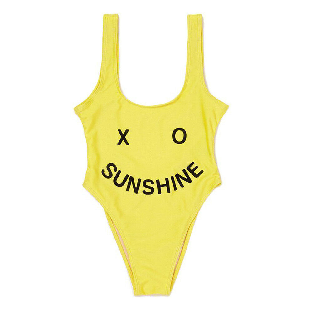 Private Party XO Sunshine Swimsuit Med Lg High Cut One Piece Bathing Suit Yellow