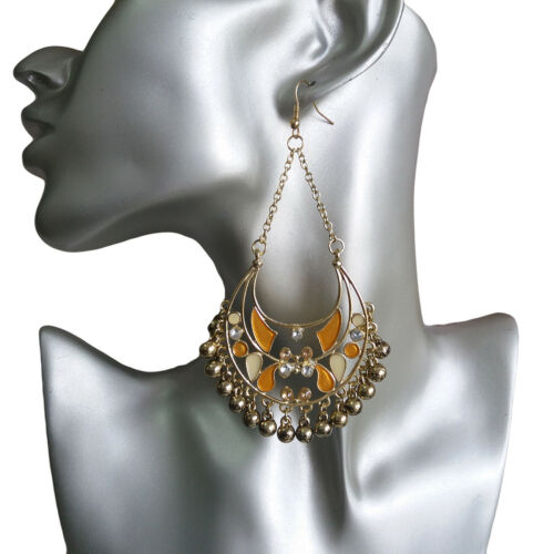 Womens Metal Charm Beads Multi-Color Dangle Drop Hook 10cm Long Earrings 801854