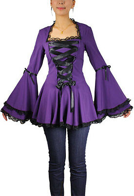 50432 CSTD Damen Bluse Tunika Gothic Viktorian Steampunk Lolita Corsett Barock