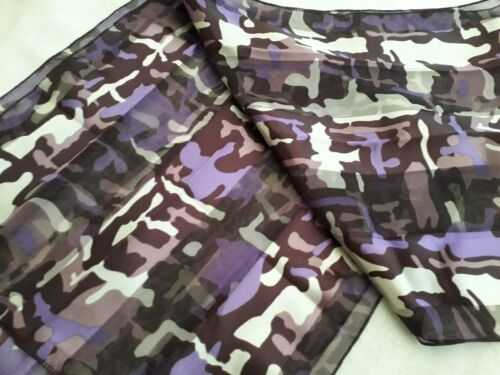 BNWT-Accessories-Purple//Grey Tones Retro Design Satin//Chiffon Scarf-155 x 35cm .