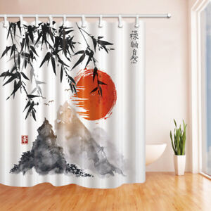 Details About Japan Mount Fuji And Bamboo Sun Waterproof Fabric Bathroom Shower Curtain 71Inch