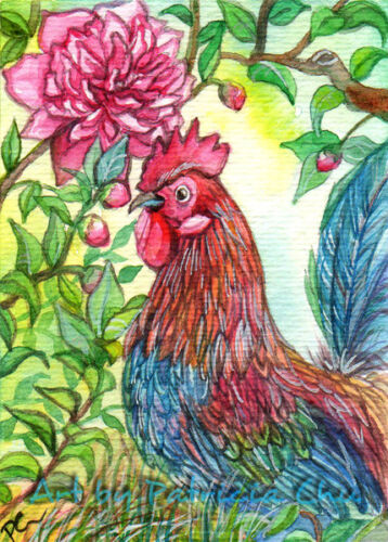 """ACEO LE Art Card Print 2.5/""""x3.5/"""" /"""" Rooster By Peony /"""" Animal Art by Patricia"""