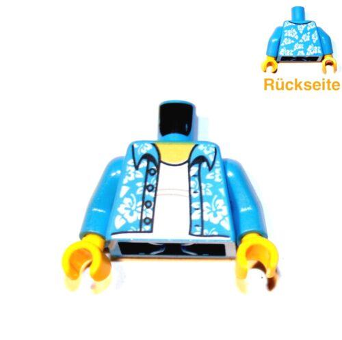 1x LEGO® Torso Körper Hawaii-Hemd 973pb2731 NEU Dunkel Azur Blau Weiss