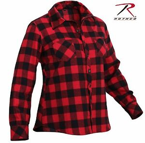 94789ff04d534 Womens Red and Black Plaid Flannel Shirt - Rothco 100% Cotton Button ...