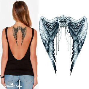 Angel Wings Temporary Tattoo Mechanical Grey Body Art Festival