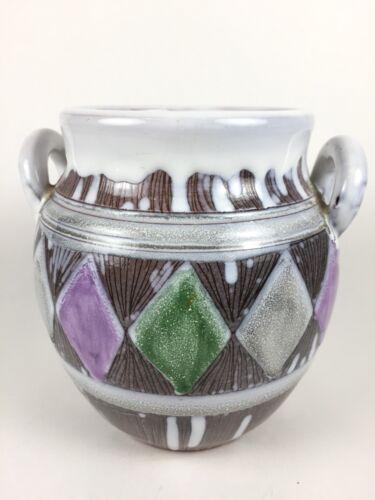 Official Mid Century Vintage Ceramic Jug Vase Laholm Sweden Pottery