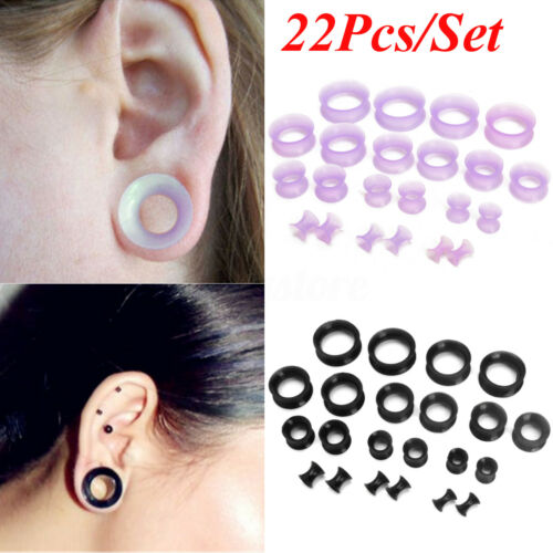 22Pcs Flexible Silicone Ear Flesh Tunnels Plugs Gauges Expander Stretching