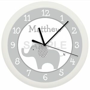 Image Is Loading Gray Elephant Nursery Wall Clock Grey Personalized