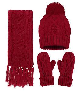 b1d8fd0ff0 Scarf Gloves and Hat Set Women  039 s Warm Knit Beanie Tassel ...