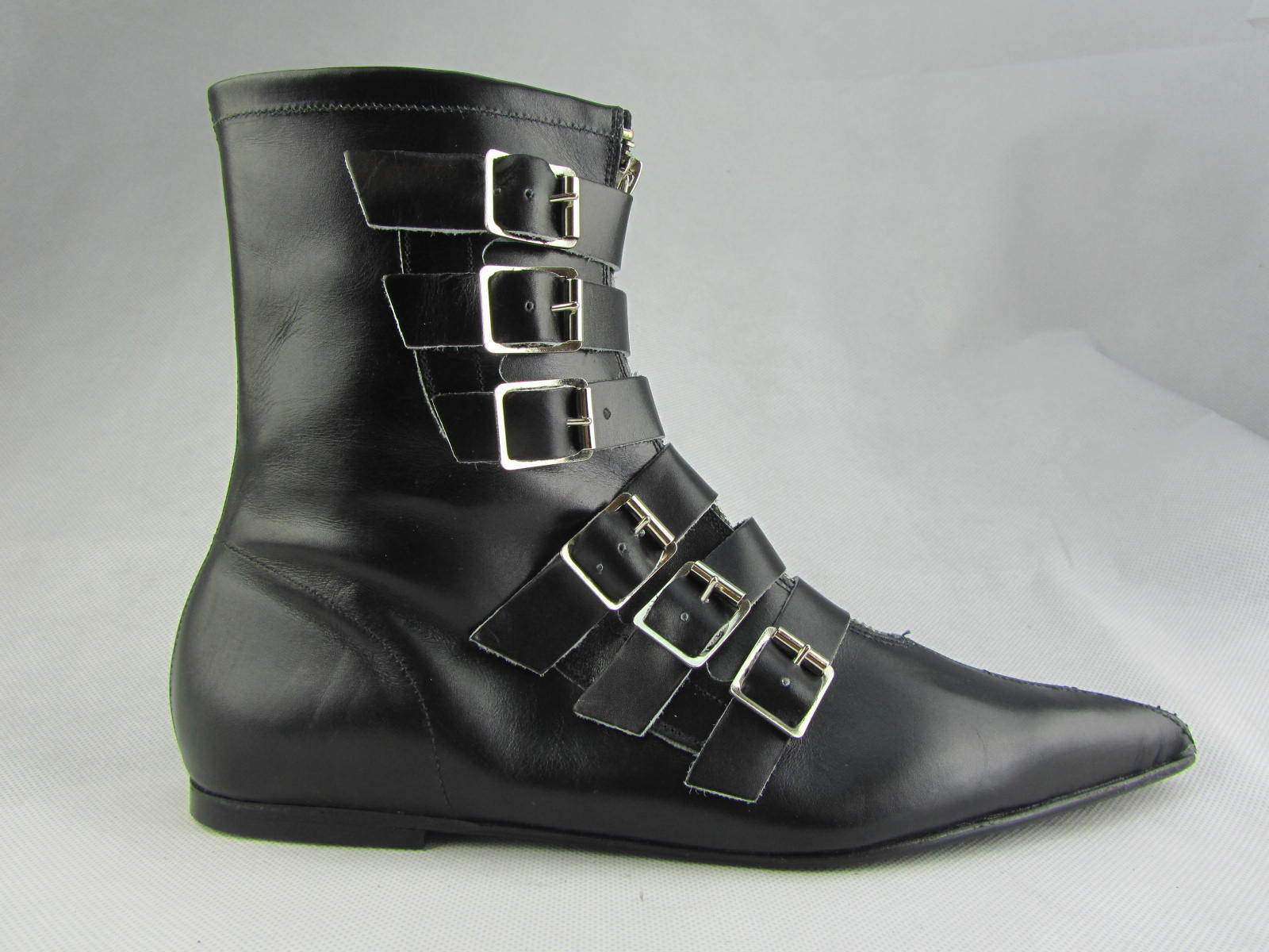 Retro New Winkle Winkle New Picker Goth Pointed Ladies 6 Strap Black Leather Boots Rock 7727b7