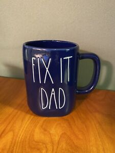 Rae Dunn 'FIX IT DAD' Large Letters Blue Mug. Brand New Giant Lions Blue