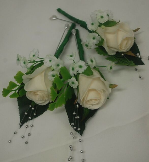 5x SILK WEDDING FLOWER IVORY ROSE GROOM BUTTON HOLE PEARL PIN FLOWERS ROSES FAKE