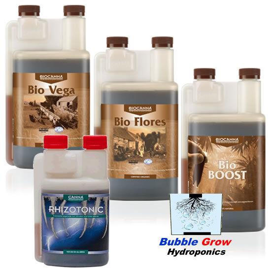 Canna Bio VEGA + FLORES + Boost 1L + RHIZOTONIC 1L nutrientes orgánicos frescos