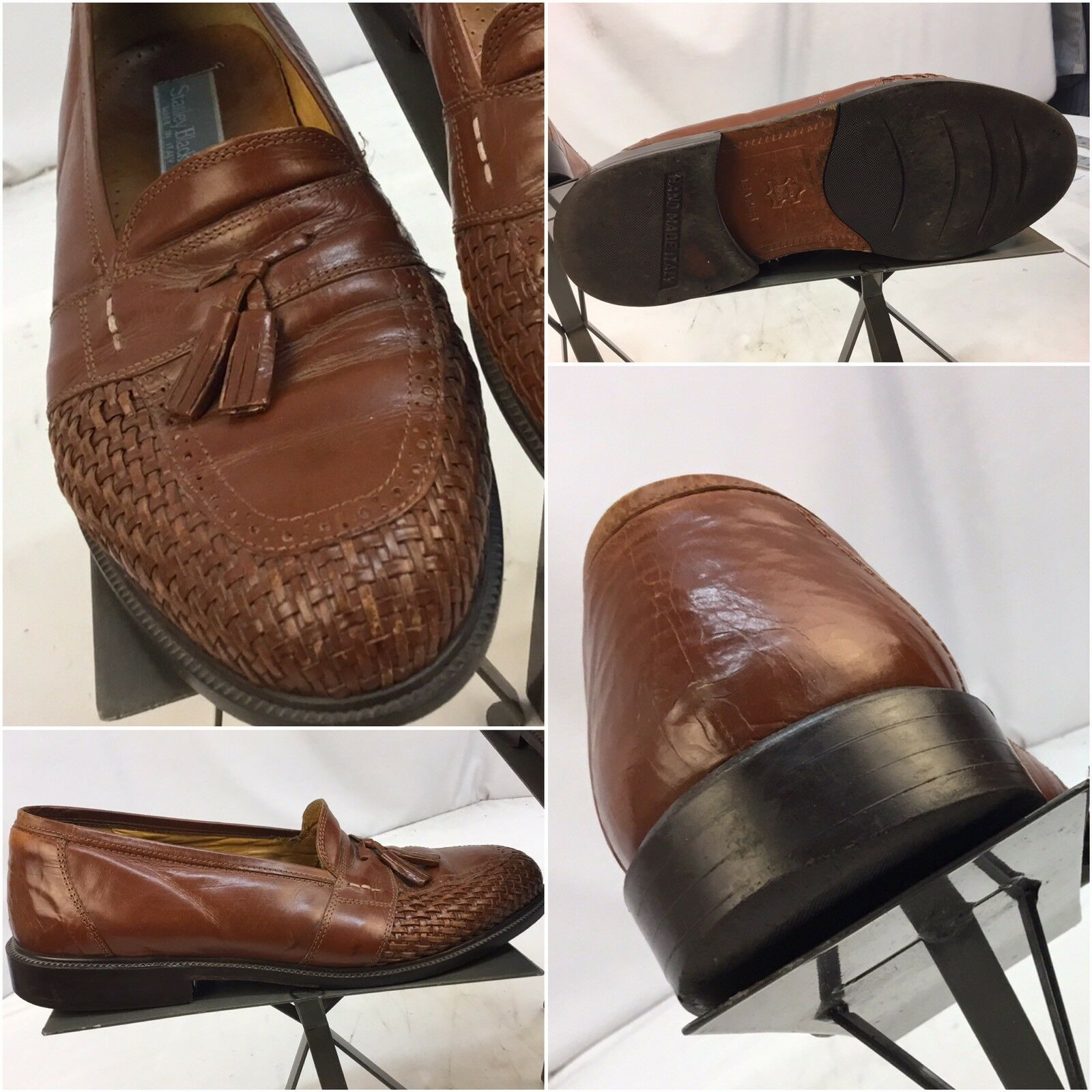 Stanley Blacker Loafers shoes Sz 6 Men Brown Braided Leather  YGI I7