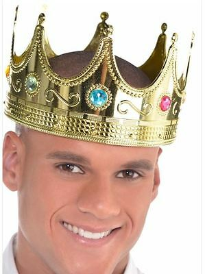 King Crown Hat Gold Jeweled Regal Adults Prince Costume Adjustable Size Plastic