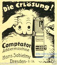 Rechenmaschine Comptator Reklame von 1921 Addiermaschine Rechner calculator ad
