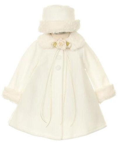 Baby Girls A-Line Rose Polaire Manteau blanc avec bordure en fourrure /& Chapeau Hiver Mariage
