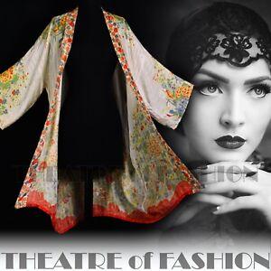 Gatsby Kimono Wedding soie manteau 1920 Antique en Osfa Vintage Vamp veste Années Deco 5PT8x1P
