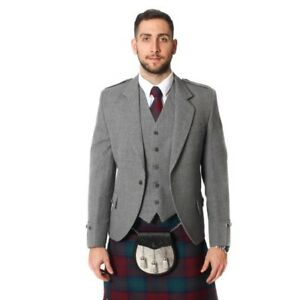 New-Men-039-s-Argyle-Kilt-Jacket-With-Waistcoat-Vest-Sizes-36-034-54-034