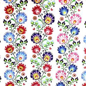 Folk Flowers on black 100/% Cotton Fabric 578 Price per 1//2 metre